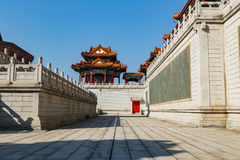 Pavilion on wall on Chinese temple Royalty Free Stock Images