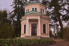 Pink pavilion at Island of Love in arboretum Sofiyivka royalty free stock photos