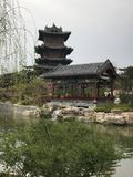 Park buildings, pavilions, streams gurgling royalty free stock image