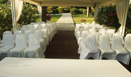 Pavilion for wedding on the beach Stock Photos