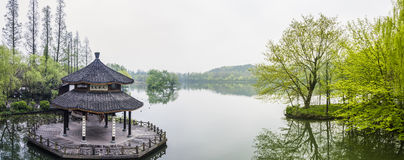 Pavilion in west internal lake stock image