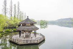 Pavilion in west internal lake Royalty Free Stock Image