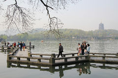 Pavilion at the west lake in hangzhou, china Royalty Free Stock Photo