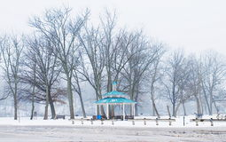 Pavilion in winter. Closeup blue Pavilion in winter Royalty Free Stock Photo