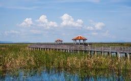 Pavilion and wood bridge Royalty Free Stock Photography