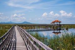 Pavilion and wood bridge Stock Photo