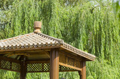 Pavilion. Wooden roof of a small pavilion Royalty Free Stock Images