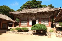 Pavilions in ancient Buddhist temple Woljeong, North Korea. DPRK Royalty Free Stock Images