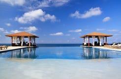 Pavilions And Swimming Pool Near Atlantic Ocean Stock Photos
