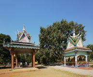 Pavilions at Buddhist temple in Cambodia Stock Images
