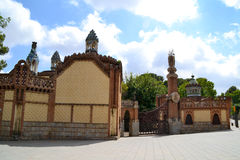 Pavilions entrance to Finca Guell, Barcelona, Spain Royalty Free Stock Photography