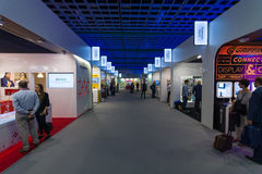 In the pavilions of the exhibition. Royalty Free Stock Images