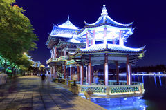 Pavilions at lakeside night sight Royalty Free Stock Images