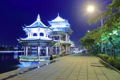 Pavilions at lakeside night view Royalty Free Stock Photos
