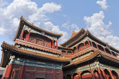 Pavilions of Lama Temple against a blue sky, Beijing, China Royalty Free Stock Images