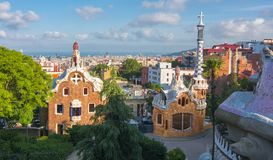 Pavilions in park Guell, Barcelona, Spain Royalty Free Stock Photo