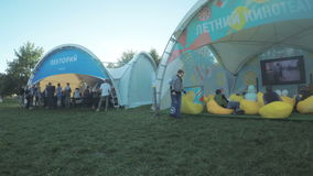 Pavilions social groups at the festival VC. Summer Cinema, Lecture stock footage