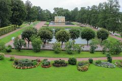 Pavilions `Upper Bath` and `Lower Bath` of the Catherine Park in the city of Pushkin. stock photos