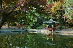 Paviljoen bij Geheime Tuin bij Changdeokgung-Paleis, Seoel Stock Fotografie