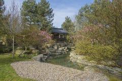 Paviljoen in de Koreaanse tuin van Seoel Berlijn, Duitsland Stock Afbeelding