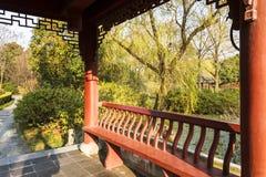 Paviljoen en groene wilg Royalty-vrije Stock Fotografie