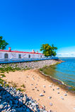 Paviljoen op een kust Stock Foto's