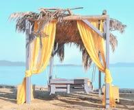 Paviljoen op het strand Stock Foto