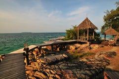 Paviljoen op het strand bij Nok Mun eiland Stock Foto