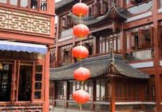 Paviljoenen in de Bazaar van Yu Yuan Stock Foto's