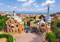 Paviljoenen in Guell-park, Barcelona, Spanje stock foto