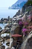 Paviljoenen op de rotsen onder de bloeiende rododendron royalty-vrije stock afbeelding