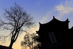Paviljoenensilhouetten van de xian grote moskee van de huajuesteeg Stock Foto's