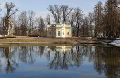 Paviljongövrebad Stad Pushkin Ryssland arkivfoto