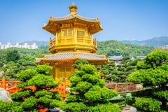 Paviljong av absolut perfektion Lotus Pond på nan den lian trädgården Royaltyfria Foton