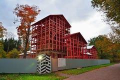 Paviljong för Lam i trärestaurereden i Alexander Park Arkivbild