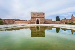 paviljong för slott för badiel marrakech morocco Royaltyfri Bild