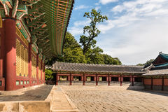 Paviljong i den Changdeokgung slotten i Seoul, Sydkorea Arkivfoto