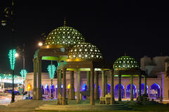 Paviljong i Muscat på natten, Oman royaltyfria foton