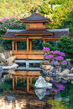 Paviljong i Nan Lian Garden, Chi Lin Nunnery, Hong Kong Royaltyfria Bilder