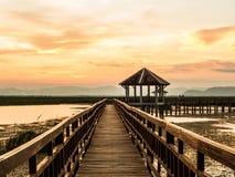 Paviljong och bro till och med träsket Royaltyfri Fotografi