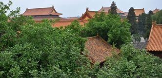 Paviljonger av Forbidden City som döljas inom träden Arkivfoto