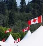 Paviljonger med kanadensiska flaggor Arkivfoto