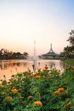 Paviljonggränsmärket av Suan Luang Rama offentlig IX parkerar Arkivbild