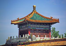 Paviljongtak i Forbiddenet City i Peking Royaltyfri Bild