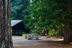 pavillion со стендами и таблицами на месте для лагеря в Вашингтоне стоковая фотография rf
