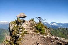 Pavillion atop of Machu Picchu Mountain peak Stock Photos