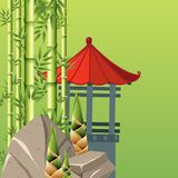 Pavillion and bamboo trees on green background. Illustration Royalty Free Stock Photos