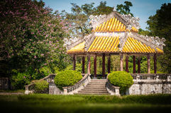Pavillion with beautiful garden in Vietnam, Asia. royalty free stock images