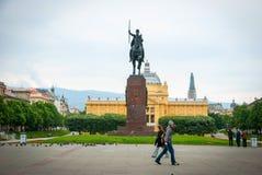 Pavillion del arte de Zagreb y parque de rey Tomislav foto de archivo libre de regalías