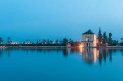 Pavillion en los jardines de Menara en Marrakesh, Marruecos Fotos de archivo